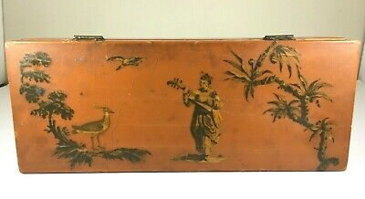 Vintage Asian Wood Box Calligraphy Lute Birds Hand Made Paint Art Japan China