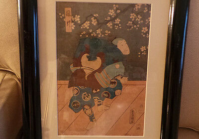 Antique Japanese Woodblock Print of Male Actor Framed & Matted VG+