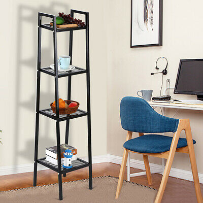 4 Tiers Shelves Wooden Bookshelf Corner Bookcase Storage Shelving Units Cabinet