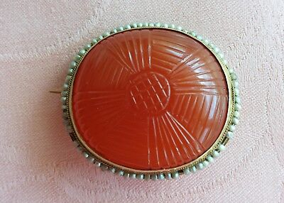 Antique Victorian Carved Carnelian Pin in 14 K Gold Setting