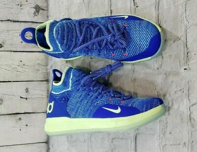 4a0d3ed3d0 Nike KD11 GS Flyknit Basketball Shoes Durant Blue Lime AH3465-900 YOUTH SZ  6Y