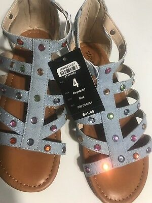 61320d693dff Girl s Stevies  mysquad Sandals Sz 4-3-2 Blue Embellished Denim Gems Shoes