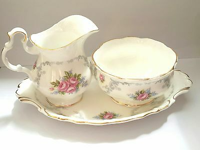 SUPERSALE Vtg ROYAL ALBERT TRANQUILLITY CREAMER SUGAR BOWL TRAY 3 Pc Set England