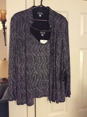 122e3647f Women ONYX NITE bling top and cardigan size 2X New with Tag black and  silver 2pc
