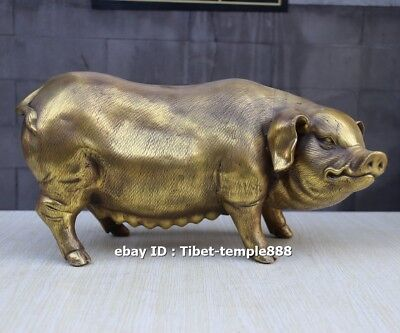 36 cm pure brass Chinese Zodiac auspicious Fengshui Wealth Animal sow Pig statue