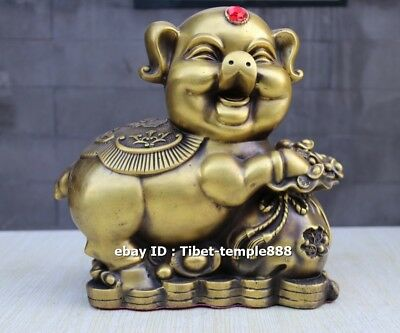 23 cm pure brass Chinese Zodiac Fengshui Wealth Animal Pig hog moneybag statue