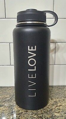 NEW 32oz LIVE LOVE Black Double Wall Stainless Steel Vacuum Insulated Tumbler