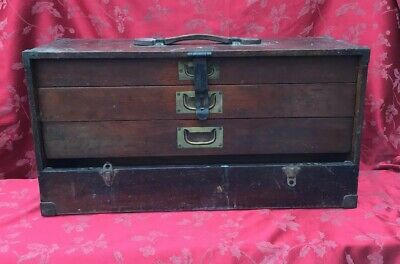 Substantial Joiner Or Engineers Brass Bound Tool Chest Cabinet Stunning