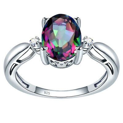 3.24 Ct Oval Rainbow Topaz Stone 925 Sterling Silver Antique Huge Women Ring #66