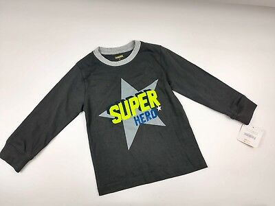 Gymboree Boys Mix n Match Dark Gray Super Hero Star Long Sleeve Tee Sz 2T