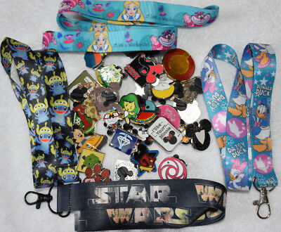 Disney Pins FAMILY 4 PACK receive 25 pin lot and 4 lanyards ready for Disney