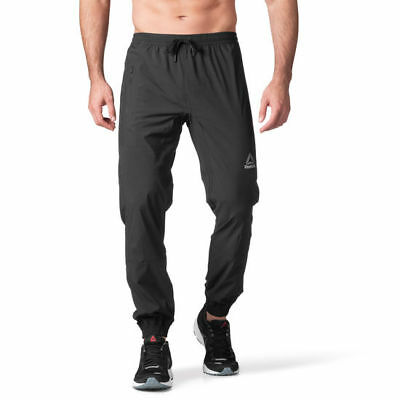 $70 REEBOK Elite Woven Running Jogger Pants BLK CROSSFIT Mens XXL DriFit Workout