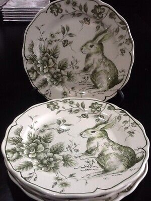 Maxcera Green And White Toile Easter Bunny 4 New Salad Plates