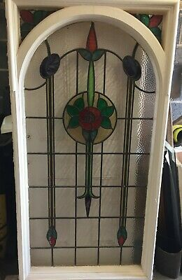 Large Antique Victorian Stained Glass Leaded Window Panel with Arch