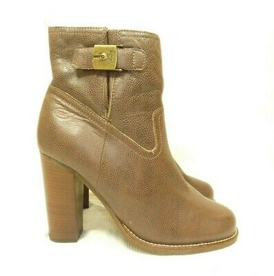ddaab1c2 Scholl Women's Soft Leather Brown High Block Heel Ankle Boots Size Uk 7 Eu  40
