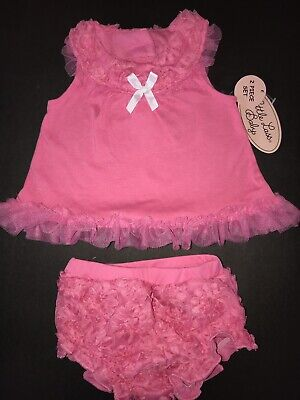 35dad628cf Little Lass Baby Pink Rosettes 3-6m Tulle Easter Outfit Shirt Bloomers NWT  Bow