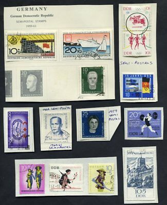 Stamps GDR - DDR Lot of 35,  Cancelled Hinged, Air Postal, Semi-Postals