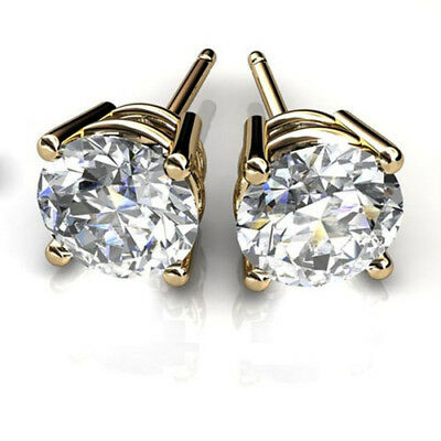 1.00 Ct Round Cut Solitaire Diamond Earring 14K Solid Yellow Gold Stud Earrings