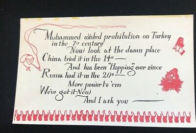 Prohibition Joke Funny Antique Sayings Postcard c1920s