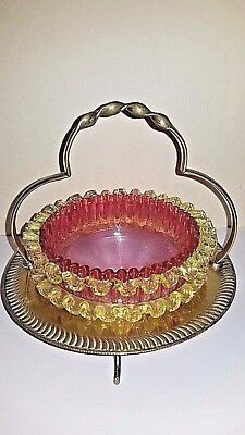 Antique Stevens & Williams Cranberry & Vaseline Thread Glass Basket EPNS Frame