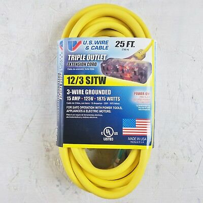 25' 12 Gauge Yellow Extension Cord w Lighted Triple Outlet - MADE IN USA