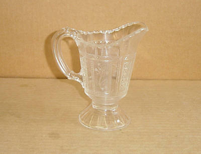 Eapg Crystal Paneled Forget Me Not Footed Creamer Bryce Bros 1875