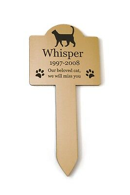 Personalised Pet Cat Memorial Plaque Stake GOLD - Outdoor Garden Waterproof