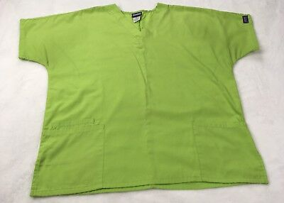 Authentic Cherokee Workwear Scrub Top Size L Lime Green Pockets V Neck (A9)