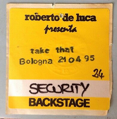 Pass Security Backstage Take That Bologna 21/04/1995