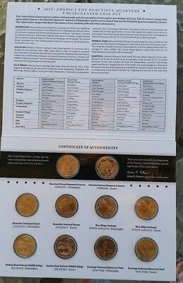 2015 P&D US Mint America the Beautiful Uncirculated 10-Coin Quarter Set W/COA!