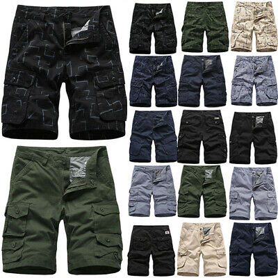 Mens Cargo Combat Work Shorts Trousers Army Military Hiking Camping Half Pants