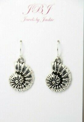 Ammonite Fossil Earrings Sea Snails 925 Sterling Silver Hooks Pewter Pendants