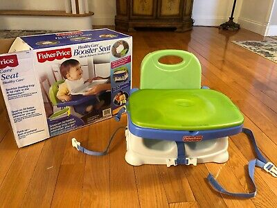 Fisher-Price Healthy Care Booster Seat, Blue/Green - IN GREAT USED CONDITION