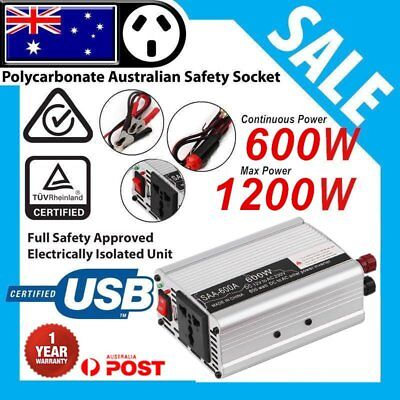 600W 1200W DC12V to AC 220V Portable Car Power Inverter Charger Converter USB GW