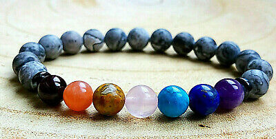 Genuine Gemstone Semi Precious 7 Chakra Natural Stone Onyx Crystal Bracelet Wrap