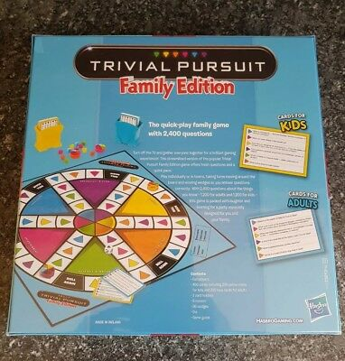 Trivial Pursuit Family Edition Board Game Kids Adults Cards Hasbro Gaming