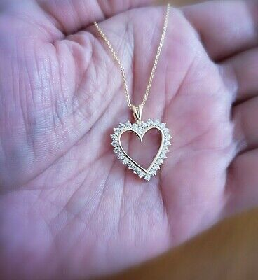 Diamond Heart Pendant Necklace 1.25 Ct in 14K Yellow Gold over with Chain