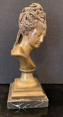 Nice Late 19Th Century Early 20Th Century Bronze & Marble Classic Female Bust