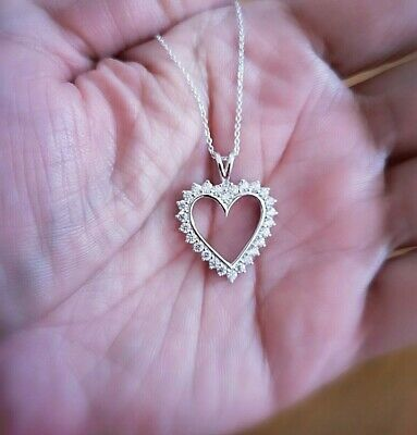 1.25 Ct Diamond Heart Pendant Womens Necklace 14K White Gold over with Chain