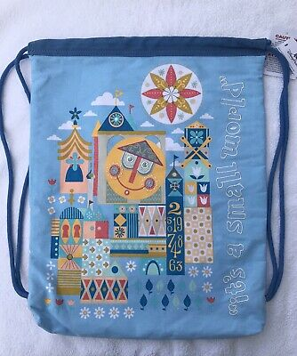Disney Parks Disney World It's a Small World Drawstring Cinch Bag Backpack, NEW