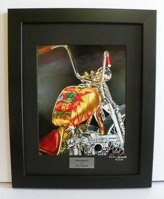 Rat Fink Indian Larry Daddy-O Bobber Signed Framed Motorcycle Art Print by JohnG