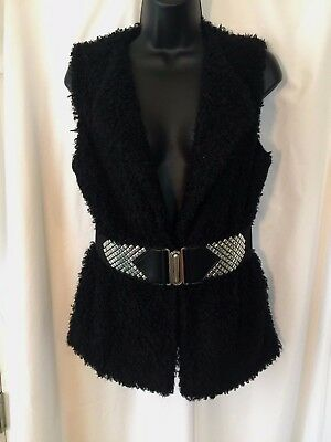 Moa Moa Women's Fuzzy Black Vest Top with Embellished Belt, Size M, Medium