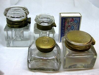 4 X  Antique Glass INKWELLs with lids / Pots, Bottles victorian