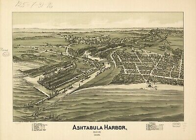 A4 Reprint of American Cities Towns States Map Ashtabula Harbor Ohio