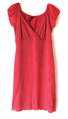 Trixxi Mini Dress Pink with White Polka Dots Womens Juniors Size Large L V-Neck