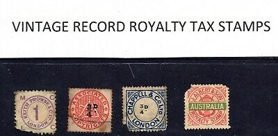 4 Vintage royalty tax revenue stamps from old 78 records