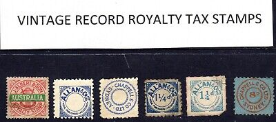 6 Vintage royalty tax revenue stamps from old 78 records