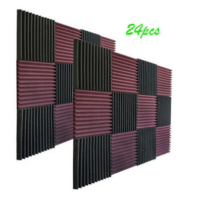 24 pack black/coffee Acoustic Wedge FOAM wall tiles for Studios & Soundproofing