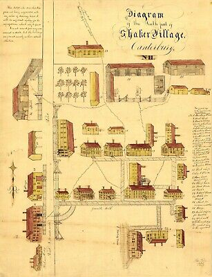 A4 Reprint of American Cities Towns States Map Canterbury Shaker Village