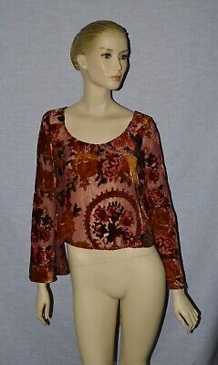 212d3d7854f Tobi New Sz S Small Red Wine Burnout Velvet Floral Crop Top Blouse Bell  Sleeve